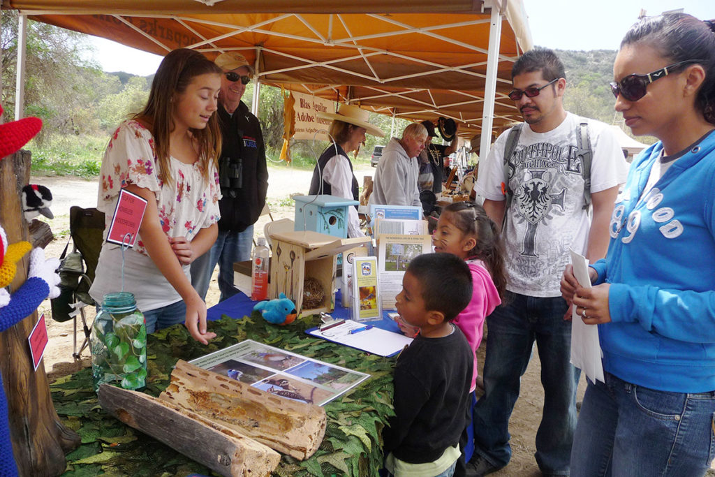Children learning about trees at environmental event