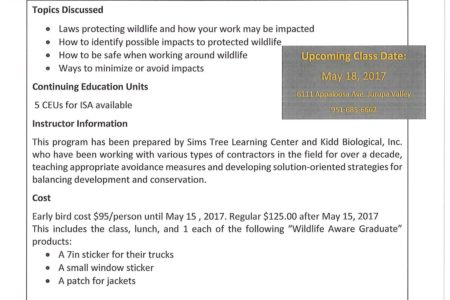 Tree Care for Birds training opportunity